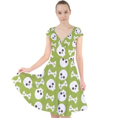 Skull Bone Mask Face White Green Cap Sleeve Front Wrap Midi Dress