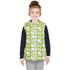 Skull Bone Mask Face White Green Kid s Puffer Vest