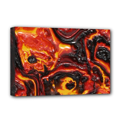 Lava Active Volcano Nature Deluxe Canvas 18  X 12   by Alisyart