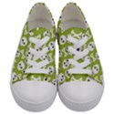 Skull Bone Mask Face White Green Kids  Low Top Canvas Sneakers View1