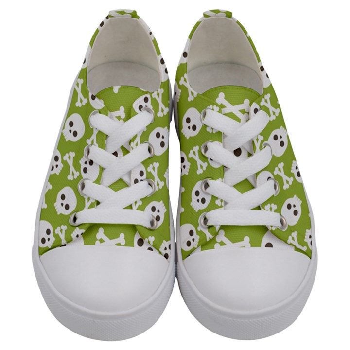 Skull Bone Mask Face White Green Kids  Low Top Canvas Sneakers