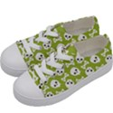 Skull Bone Mask Face White Green Kids  Low Top Canvas Sneakers View2