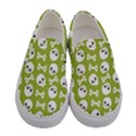 Skull Bone Mask Face White Green Women s Canvas Slip Ons View1