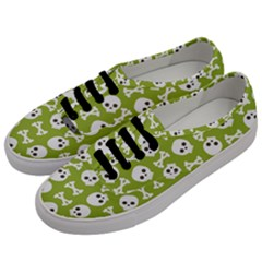 Skull Bone Mask Face White Green Men s Classic Low Top Sneakers by Alisyart