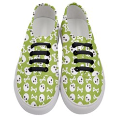 Skull Bone Mask Face White Green Women s Classic Low Top Sneakers