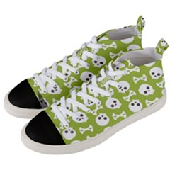 Skull Bone Mask Face White Green Men s Mid-Top Canvas Sneakers
