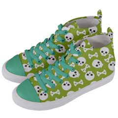 Skull Bone Mask Face White Green Women s Mid-Top Canvas Sneakers