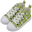 Skull Bone Mask Face White Green Kid s Mid-Top Canvas Sneakers View2