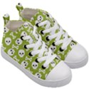 Skull Bone Mask Face White Green Kid s Mid-Top Canvas Sneakers View3