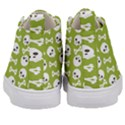 Skull Bone Mask Face White Green Kid s Mid-Top Canvas Sneakers View4
