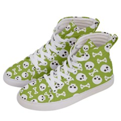 Skull Bone Mask Face White Green Men s Hi-Top Skate Sneakers