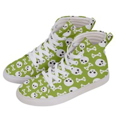 Skull Bone Mask Face White Green Women s Hi-Top Skate Sneakers