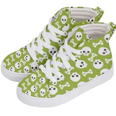 Skull Bone Mask Face White Green Kid s Hi-Top Skate Sneakers