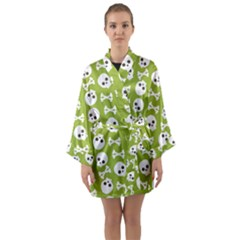 Skull Bone Mask Face White Green Long Sleeve Kimono Robe