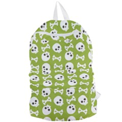 Skull Bone Mask Face White Green Foldable Lightweight Backpack