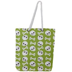 Skull Bone Mask Face White Green Full Print Rope Handle Tote (Large)