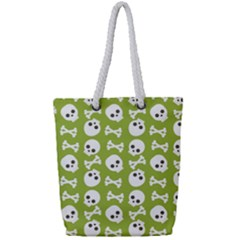 Skull Bone Mask Face White Green Full Print Rope Handle Tote (small)
