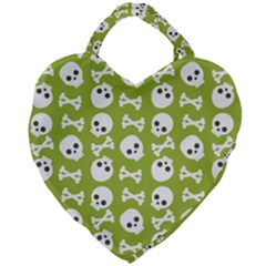 Skull Bone Mask Face White Green Giant Heart Shaped Tote