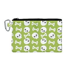 Skull Bone Mask Face White Green Canvas Cosmetic Bag (Medium)