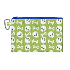 Skull Bone Mask Face White Green Canvas Cosmetic Bag (Large)