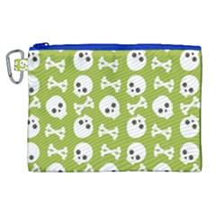 Skull Bone Mask Face White Green Canvas Cosmetic Bag (xl)