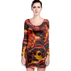 Lava Active Volcano Nature Long Sleeve Bodycon Dress