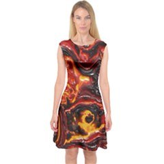 Lava Active Volcano Nature Capsleeve Midi Dress