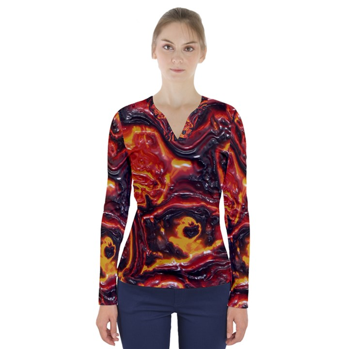 Lava Active Volcano Nature V-Neck Long Sleeve Top