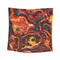 Lava Active Volcano Nature Square Tapestry (small) by Alisyart