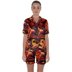 Lava Active Volcano Nature Satin Short Sleeve Pyjamas Set by Alisyart