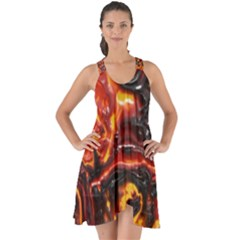 Lava Active Volcano Nature Show Some Back Chiffon Dress
