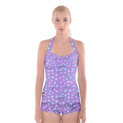 Little Face Boyleg Halter Swimsuit