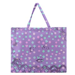 Little Face Zipper Large Tote Bag