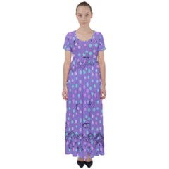 Little Face High Waist Short Sleeve Maxi Dress