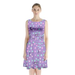 Little Face Sleeveless Waist Tie Chiffon Dress