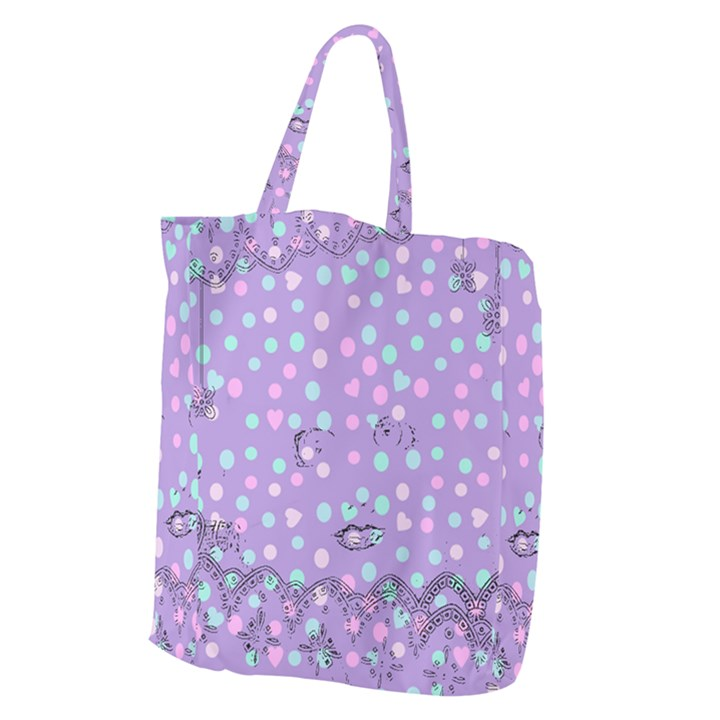 Little Face Giant Grocery Zipper Tote