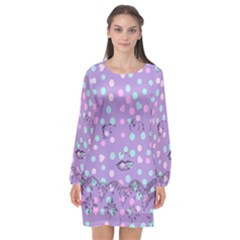 Little Face Long Sleeve Chiffon Shift Dress