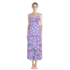 Little Face Button Up Chiffon Maxi Dress