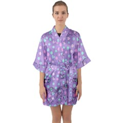 Little Face Quarter Sleeve Kimono Robe