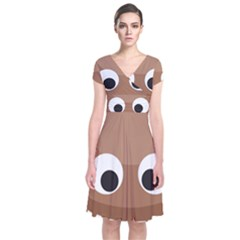 Poo Happens Short Sleeve Front Wrap Dress