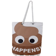 Poo Happens Full Print Rope Handle Tote (large) by Vitalitee