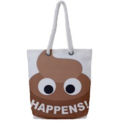Poo Happens Full Print Rope Handle Tote (small) by Vitalitee