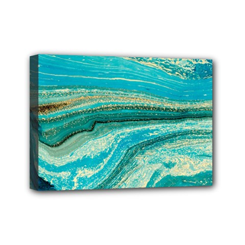Mint,gold,marble,nature,stone,pattern,modern,chic,elegant,beautiful,trendy Mini Canvas 7  X 5  by 8fugoso