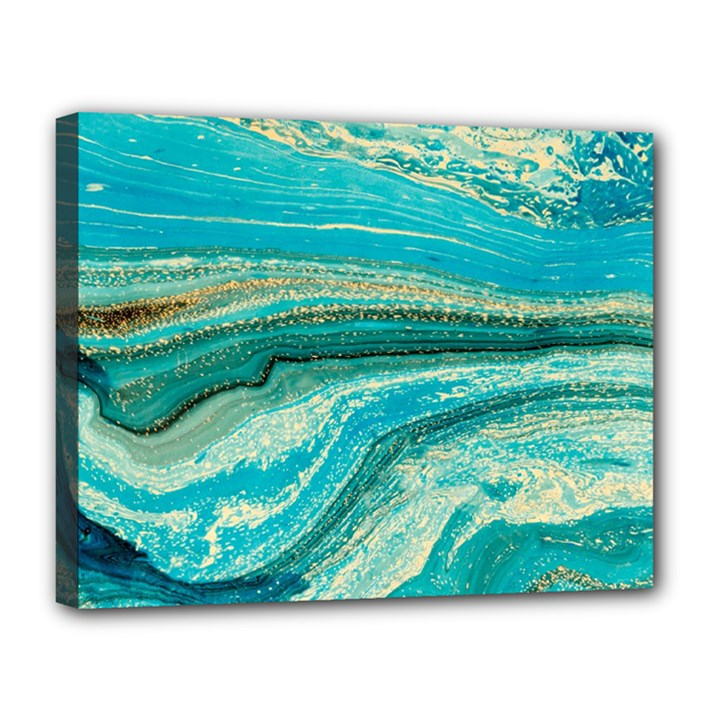 Mint,gold,marble,nature,stone,pattern,modern,chic,elegant,beautiful,trendy Canvas 14  x 11