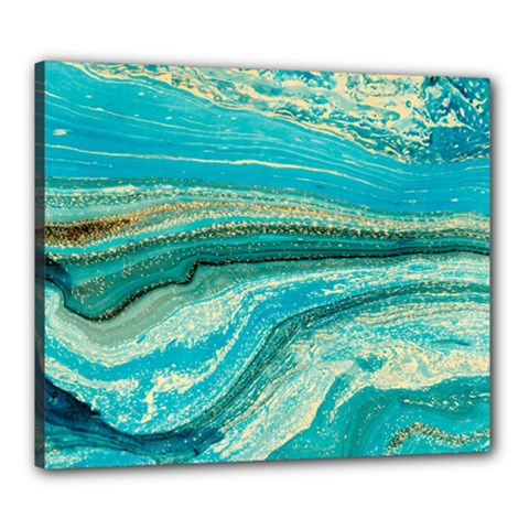 Mint,gold,marble,nature,stone,pattern,modern,chic,elegant,beautiful,trendy Canvas 24  x 20