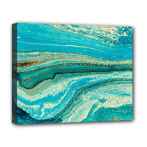 Mint,gold,marble,nature,stone,pattern,modern,chic,elegant,beautiful,trendy Deluxe Canvas 20  x 16