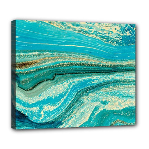 Mint,gold,marble,nature,stone,pattern,modern,chic,elegant,beautiful,trendy Deluxe Canvas 24  X 20