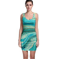 Mint,gold,marble,nature,stone,pattern,modern,chic,elegant,beautiful,trendy Bodycon Dress