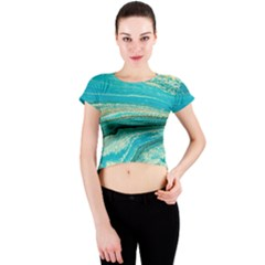 Mint,gold,marble,nature,stone,pattern,modern,chic,elegant,beautiful,trendy Crew Neck Crop Top
