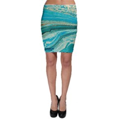 Mint,gold,marble,nature,stone,pattern,modern,chic,elegant,beautiful,trendy Bodycon Skirt